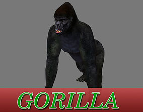 animated low-poly GORILLA 3D MODEL - ANIMATED