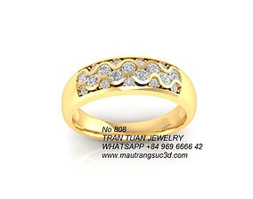 808 Diamond Ring for women 3D print model woman