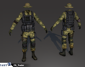 lowpoly American soldier character costume 3d game-ready
