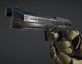 3D model VR / AR ready Animated M9 Beretta Gun