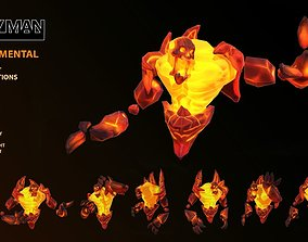 Fire Elemental 3D asset animated