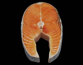 Raw salmon steak 3D asset