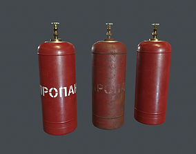 3D model realtime 50 Liter Gas Cylinder PBR Game Ready