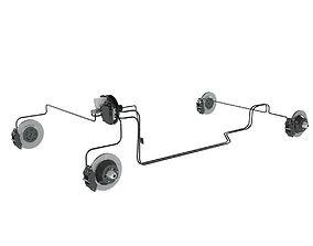 Car Brake System 3D pipe