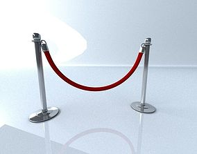 Stanchion with Velvet Rope 3D model