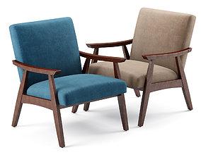 3D Linen Mid Century Modern Chair