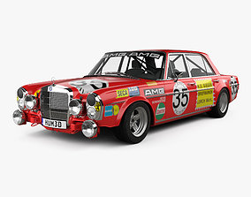 3D Mercedes-Benz 300 SEL AMG Red Pig 1969