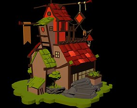 cartoon house 3D asset animated low-poly