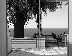Modern Terrase With Sea View 3D