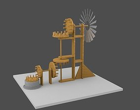 3D animated Old windmill with gears