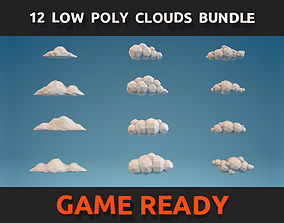 3D model 12 Low Poly Clouds Bundle
