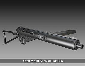 3D model Sten MKIII Submachine Gun