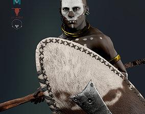3D model African ZULU Warrior RIGGED