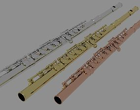 TRANSVERSE FLUTE with 3 color variations low poly 3D asset