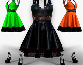 New gothic punk dress for Halloween 3D asset rigged