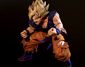 game-ready Son Goku SSJ 3D Model