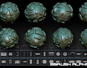 Zbrush Alphas-80 Robots 2 3D