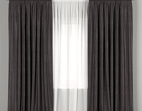 Dark curtains with tulle 3D