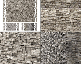 Brick stone wall granite many n3 3D