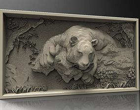 Tiger wall painting 3D models for artcam and aspire