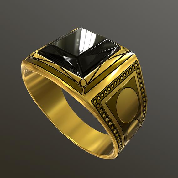 Golden Ring Black Sapphire