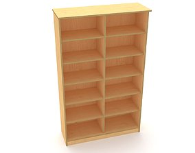 3D asset lowpoly bookshelf 2 plywood