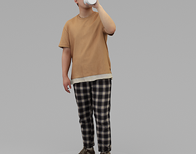 3D model A Relaxed Man Drinking Water From A
