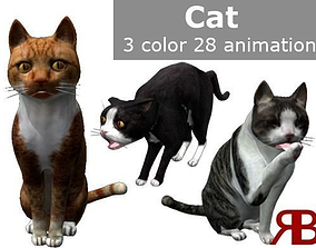 Cat lowpoly 3D asset animated