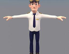 3D model animated Cartoon Pilot Character