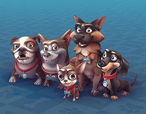3D model animated Cartoon Dogs