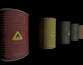3D model Danger oil barrels set