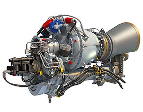 3D Turbomeca Arriel 2 Turboshaft Helicopter Engine