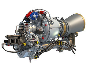 3D Turbomeca Arriel 2 Turboshaft Helicopter Engine