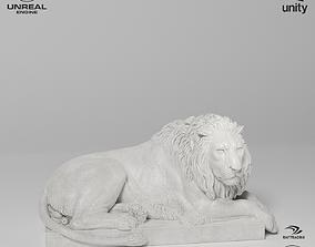 3D asset Recumbent Lion Sculpture VR AR Mobile-ready 1