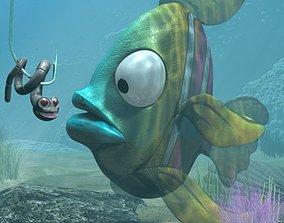 3D model Cartoon Exotic Fish Rigged