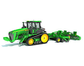 seeder 3D Tractor with Trailed Disc Harrow