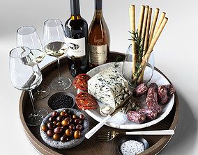 3D Grocery set Cheese food wine