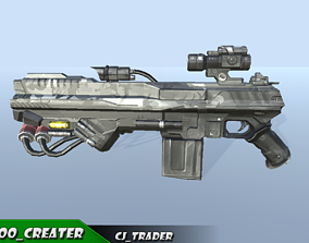 Modern Sci-Fi Space Gun 3D Model VR / AR ready