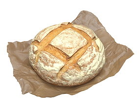 Round Loaf Of Bread With Waxed Paper 3D model