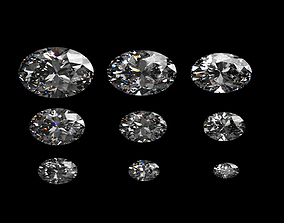 Diamond Oval Different Sizes sterling 3D