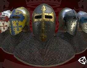 Medieval Helmet Bascinet Splitvisor 3D model