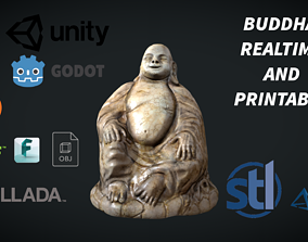 Happy Buddha - an aged statue of the sitting 3D model
