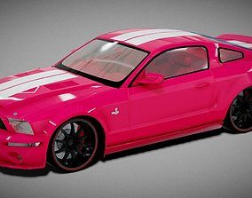Ford Shelby Mustang GT500 3D Model convertible low-poly