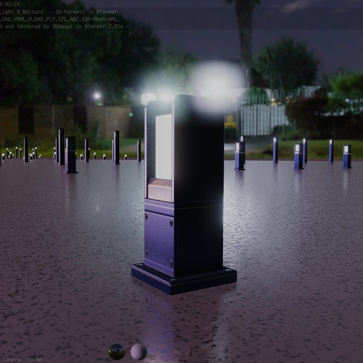 Street Light 8 Bollard Futuristic Blue Version