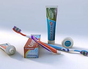 3D model Oral hygiene set dentist