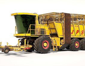 low-poly 3D JPS Small loading wagon with harvester 1