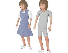 Girl real cloth simulation conversation loop 3D model 2