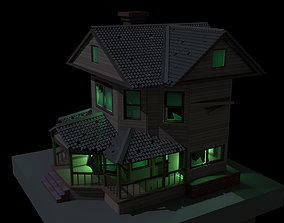 3D asset game-ready Low poly haunted house