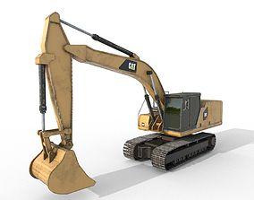 Excavators Low Poly PBR 3D asset