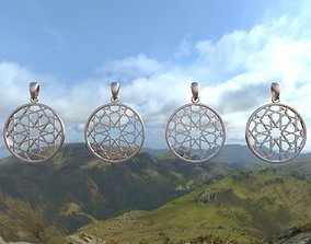 Set of Star Islamic Pendants in round and 3D print model 1